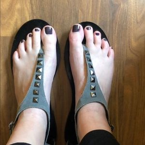 Gray Suede Sandals with Metal Stud Detail